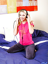 Look this blonde teen she's very kind and lovely display her naked body on bed
