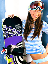 Sporty teen Catina shows off her snowboard in her panties