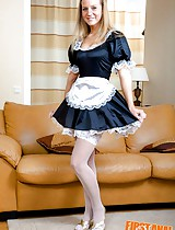 Horny housemaid in white stockings helps the guy to overcome hangover and release sexual tension