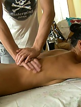 She gets her cunt fucked on the massage table
